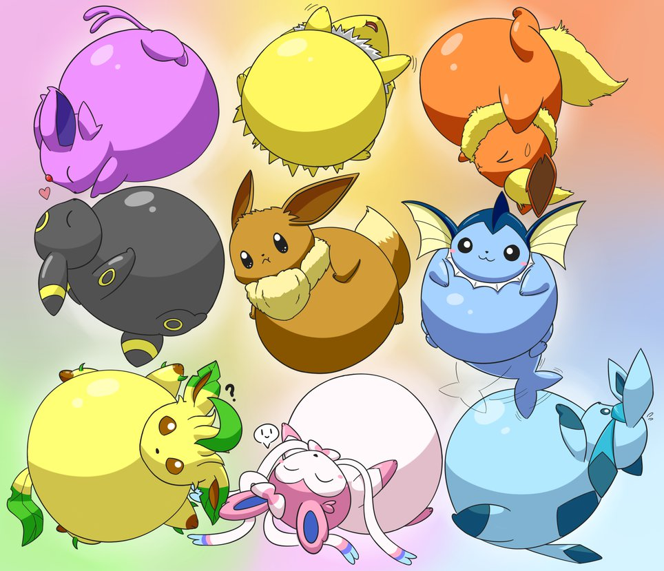 Eevee Live Wallpaper: Inflated_eeveelutions_by_selphy6-d7xj4wd